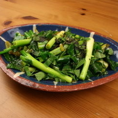 Piyaz Gobhi with Spring Greens, Spring Onions and Mint