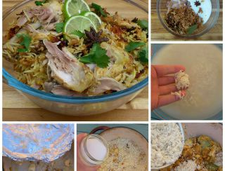 Biryani step-by-step.