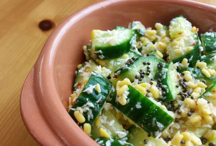 Cucumber, Moong Dal and Coconut Salad