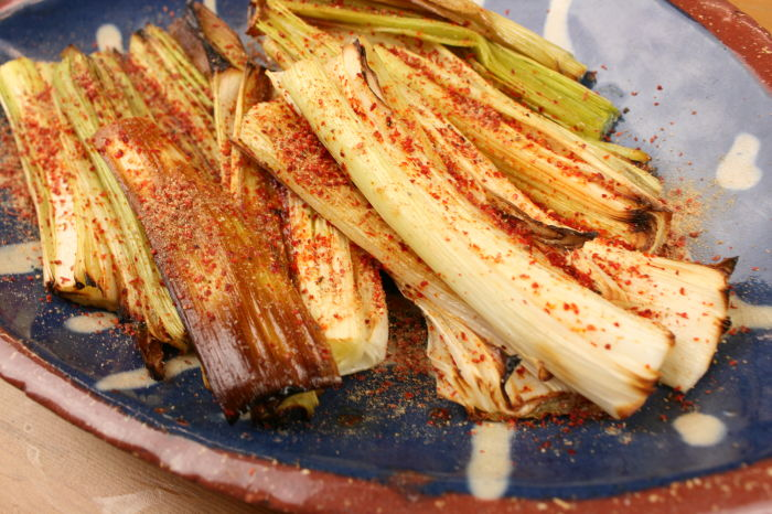 Roasted Leeks with Amchur Powder & Chilli Flakes