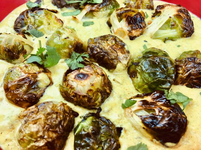 Roasted Brussels Sprouts in Yoghurt Curry